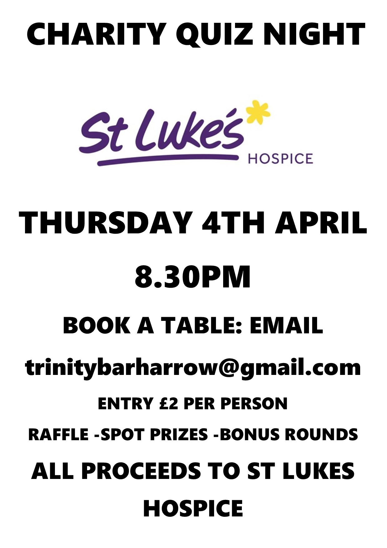 Charity Quiz Night Trinity Bar